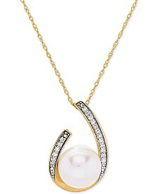 "Cultured Freshwater Pearl (9 mm) & Diamond (1/10 ct. t.w.) 18"" Pendant Necklace in 14k Gold"