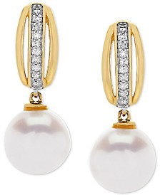 Honora Cultured Freshwater Pearl (8 mm) & Diamond Accent Drop Earrings in 14k Gold