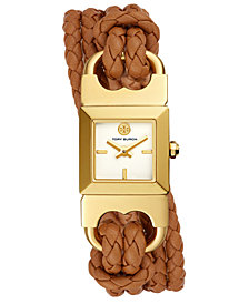 Tory Burch Women's Double T-Link Brown Leather Double Wrap Strap Watch 18x18mm