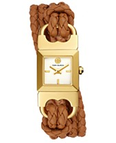 b8917db728ec Tory Burch Women s Double T-Link Brown Leather Double Wrap Strap Watch  18x18mm