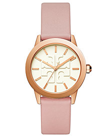 Tory Burch Women's Gigi Pink Leather Strap Watch 36mm