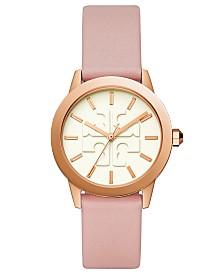 Tory Burch Women's Gigi Pink Leather Strap Watch 36mm