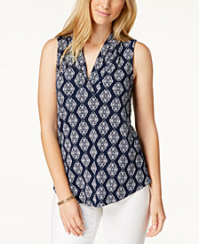 Charter Club Printed Sleeveless Top, Created for Macy's