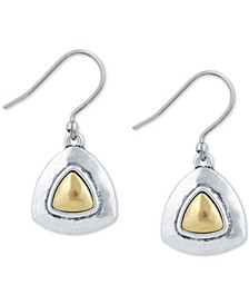 Two-Tone Triangular Drop Earrings