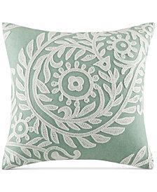 "Harbor House Miramar Faux-Linen Embroidered 18"" Square Decorative Pillow"