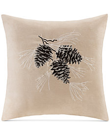 "Madison Park Faux-Suede Pinecone Embroidered 20"" Square Decorative Pillow"