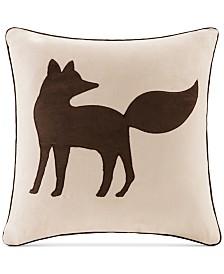 """Madison Park Faux-Suede Fox Appliqué 20"""" Square Decorative Pillow"""