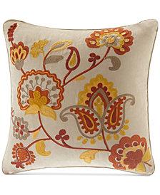 "Madison Park Golden Harvest Faux-Suede Embroidered 20"" Square Decorative Pillow"