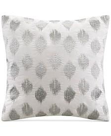 "Nadia 18"" Square Metallic Ikat Dot-Embroidered Decorative Pillow"