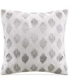 "INK+IVY Nadia 18"" Square Metallic Ikat Dot-Embroidered Decorative Pillow"