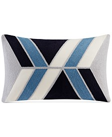 """Aero 12"""" x 20"""" Embroidered Abstract Oblong Decorative Pillow"""