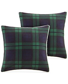 "Brewster Reversible Plaid Softspun to Berber 18"" Square Pair of Decorative Pillows"