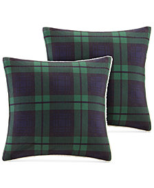 "Woolrich Brewster Reversible Plaid Softspun to Berber 18"" Square Pair of Decorative Pillows"