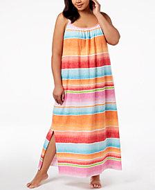 Lauren Ralph Lauren Fashion Knits Plus Size Striped Nightgown