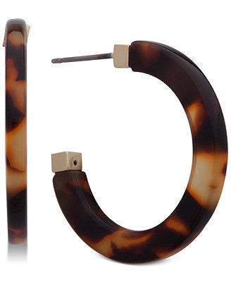 Gold Tone Tortoiseshell Look Hoop Earrings by Lauren Ralph Lauren