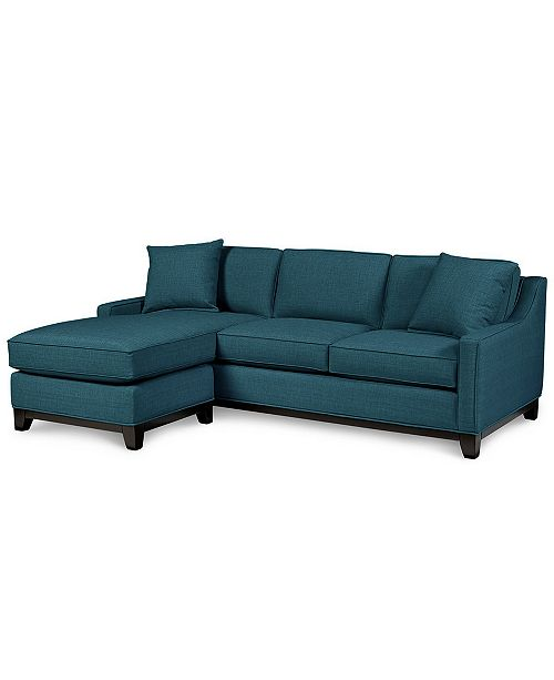 "Furniture Keegan 90"" 2 Piece Fabric Reversible Chaise Sectional Sofa"