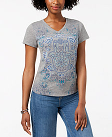 Style & Co Petite Hamsa Graphic T-Shirt, Created for Macy's