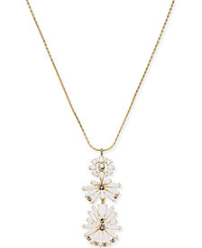 "I.N.C. Gold-Tone Crystal & Stone Cluster Pendant Necklace, 28"" +3 extender, Created for Macy's"