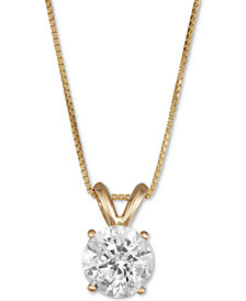 Macy's Star Signature Diamond™ Solitaire Pendant Necklace (1 ct. t.w.) in 14k Gold or White Gold