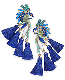 I.N.C. Gold-Tone Mixed-Metal Blue Bird Stud Earrings, Created for Macy's