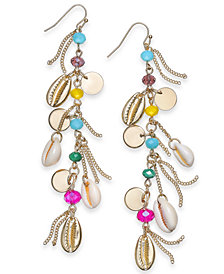 I.N.C. Gold-Tone Bead & Charm Linear Drop Earrings, Created for Macy's