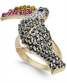 I.N.C. Gold-Tone Crystal Pavé Tucan Statement Ring, Created for Macy's