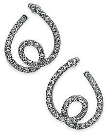I.N.C. Silver-Tone Pavé Tangle Bypass Hoop Earrings, Created for Macy's