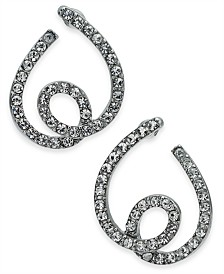 "I.N.C. Small 1"" Silver-Tone Pavé Tangle Bypass Small Hoop Earrings  s, Created for Macy's"