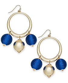 "I.N.C. Extra Large 2.5"" Gold-Tone Wrapped Ball Drop Hoop Earrings, Created for Macy's"