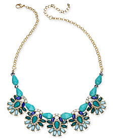 "I.N.C. Gold-Tone Crystal & Stone Flower Beaded Statement Necklace, 18"" + 3"" extender, Created for Macy's"