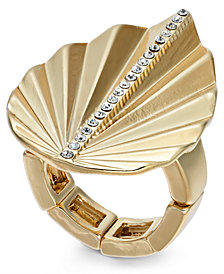 Thalia Sodi Gold-Tone Crystal Palm Leaf Stretch Ring, Created for Macy's