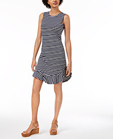 Maison Jules Ruffled-Hem Striped A-Line Dress, Created for Macy's