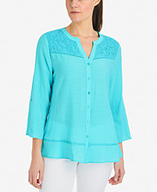 NY Collection Lace-Yoke Ladder-Trim Shirt