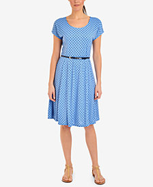 NY Collection Polka-Dot Belted Dress