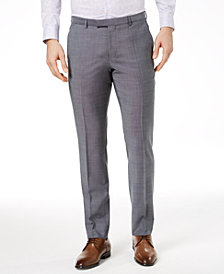 Hugo Boss Men's Extra-Slim Fit Gray Crosshatch Suit Pants