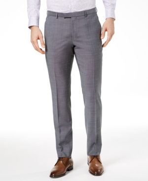 Hugo Men's Extra-Slim Fit Gray Crosshatch Suit Pants
