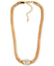 "Charter Club Gold-Tone Pavé Collar Necklace, 18-1/2"" + 3"" extender, Created for Macy's"