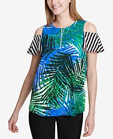 Calvin Klein Mixed-Print Cold-Shoulder Top