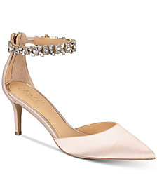 Jewel Badgley Mischka Audrey Embellished Ankle Strap Evening Pumps, Created for Macy's