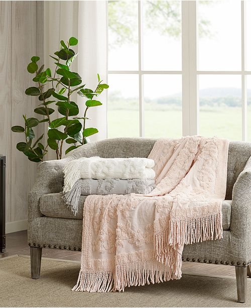 "Madison Park Chloe Cotton 50"" x 60"" Tufted-Chenille Throw"