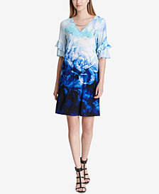 Calvin Klein Printed Ruffled-Sleeve Dress