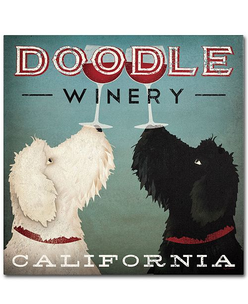"Trademark Global Ryan Fowler 'Doodle Wine' 14"" x 14"" Canvas Wall Art"