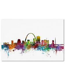 "Michael Tompsett 'St. Louis Missouri Skyline' 16"" x 24"" Canvas Wall Art"