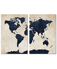 Michael Tompsett 'World Map – Navy' 2-Panel Canvas Art Print Set