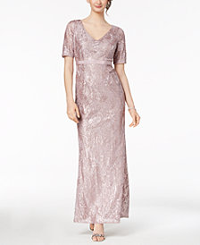 Adrianna Papell Sequined Floral Lace Gown