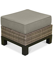 North Port Wicker Outdoor Ottoman with Custom Sunbrella® Cushion, Created for Macy's