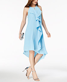 Adrianna Papell Ruffled Keyhole Shift Dress