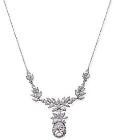 "Danori Silver-Tone Crystal Flower Statement Necklace, 15-1/2"" + 2"" extender, Created for Macy's"
