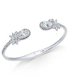 Danori Silver-Tone Crystal Flower Cuff Bracelet, Created for Macy's