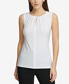 DKNY Ruched Keyhole Top, Created for Macy's